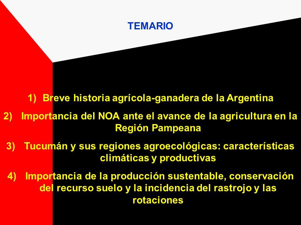 TEMARIO 1)Breve historia agrícola-ganadera de la Argentina 2) Importancia del NOA ante el avance de la agricultura en la Región Pampeana 3) Tucumán y