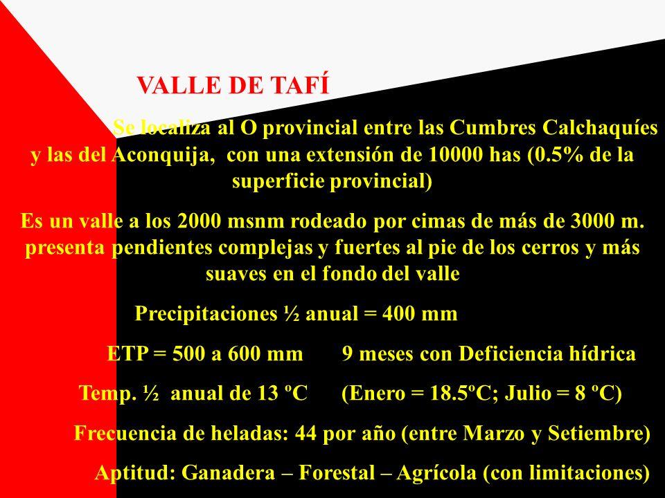 VALLE DE TAFÍ Se localiza al O provincial entre las Cumbres Calchaquíes y las del Aconquija, con una extensión de 10000 has (0.5% de la superficie pro