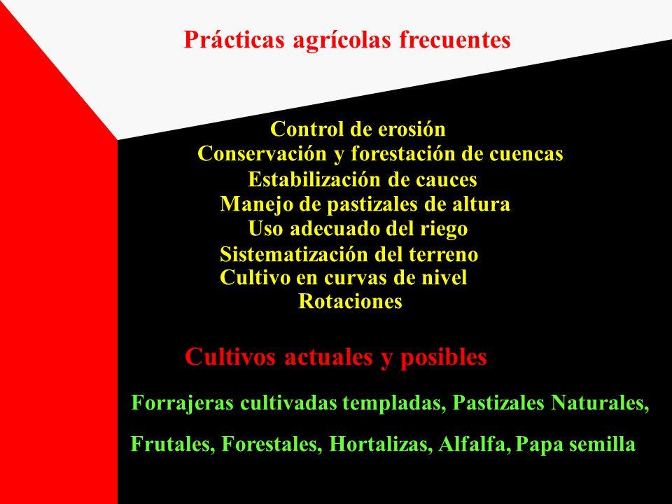 Prácticas agrícolas frecuentes Control de erosión Conservación y forestación de cuencas Estabilización de cauces Manejo de pastizales de altura Uso ad