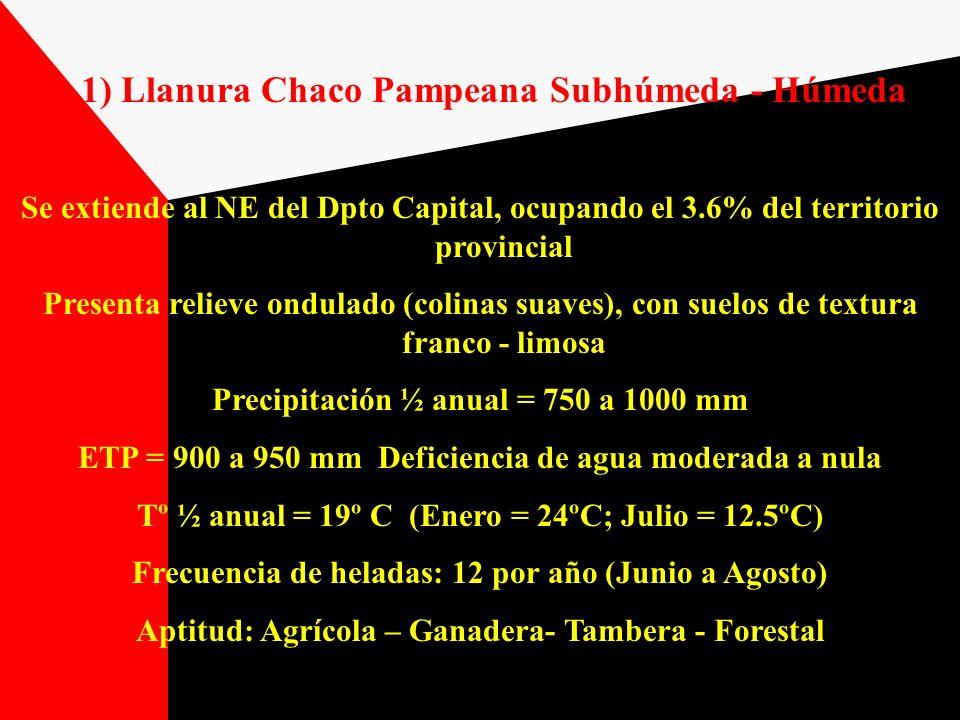 1) Llanura Chaco Pampeana Subhúmeda - Húmeda Se extiende al NE del Dpto Capital, ocupando el 3.6% del territorio provincial Presenta relieve ondulado