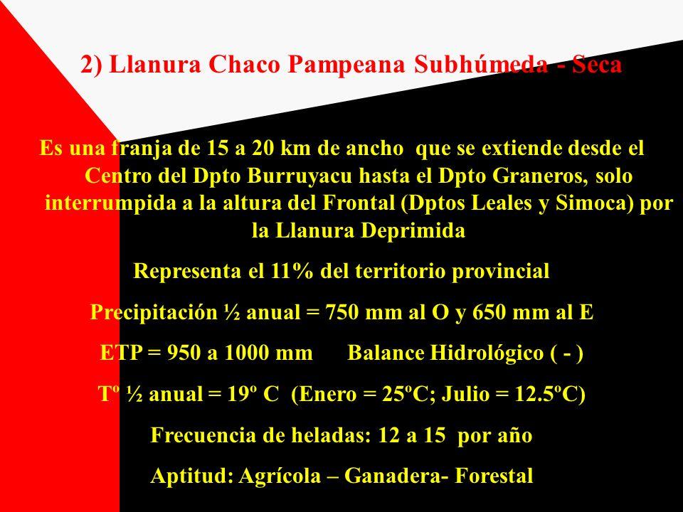 2) Llanura Chaco Pampeana Subhúmeda - Seca Es una franja de 15 a 20 km de ancho que se extiende desde el Centro del Dpto Burruyacu hasta el Dpto Grane