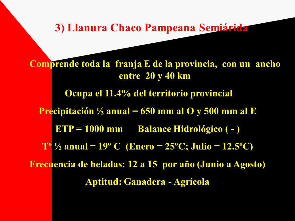 3) Llanura Chaco Pampeana Semiárida Comprende toda la franja E de la provincia, con un ancho entre 20 y 40 km Ocupa el 11.4% del territorio provincial