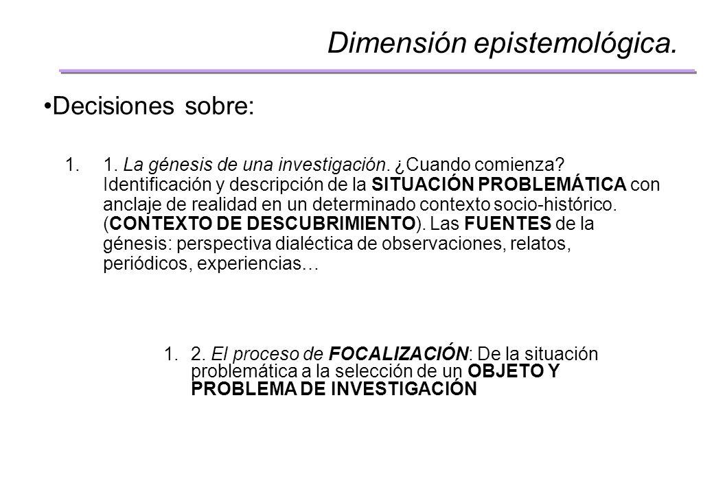 Dimensión epistemológica.Decisiones sobre: 1.4.
