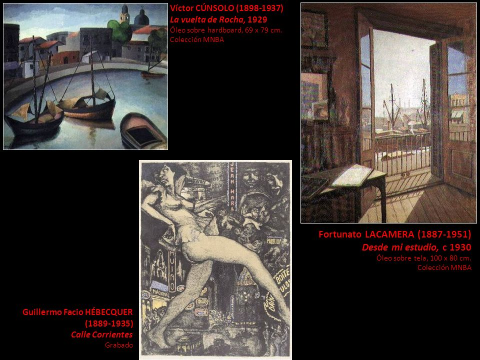 Víctor CÚNSOLO (1898-1937) La vuelta de Rocha, 1929 Óleo sobre hardboard, 69 x 79 cm. Colección MNBA Fortunato LACAMERA (1887-1951) Desde mi estudio,