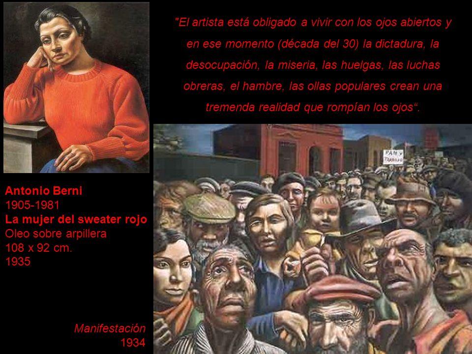 Antonio Berni 1905-1981 La mujer del sweater rojo Oleo sobre arpillera 108 x 92 cm. 1935