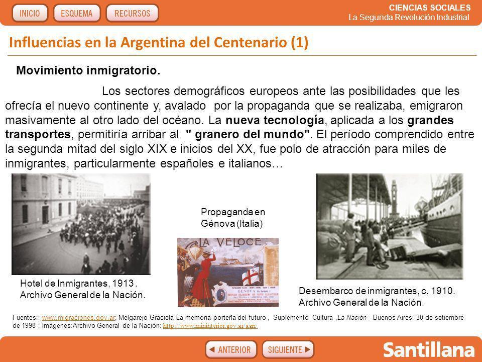 CIENCIAS SOCIALES La Segunda Revolución Industrial Influencias en la Argentina del Centenario.