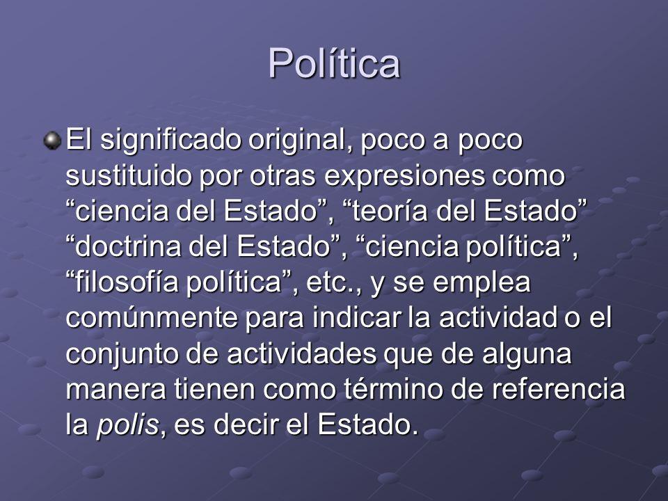 Política El significado original, poco a poco sustituido por otras expresiones como ciencia del Estado, teoría del Estado doctrina del Estado, ciencia