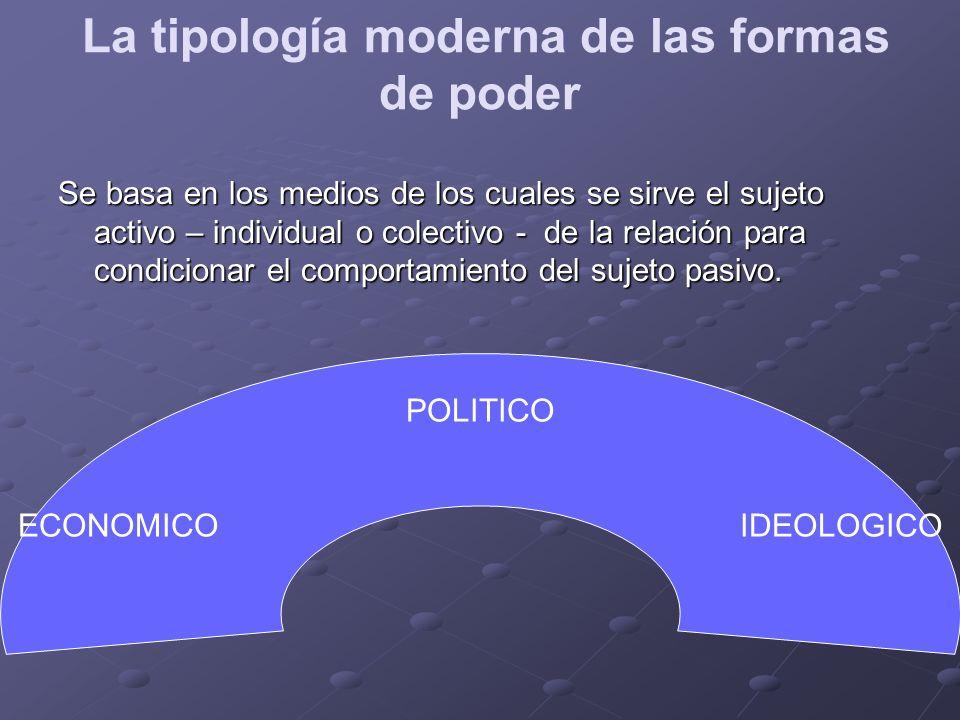 La tipología moderna de las formas de poder Se basa en los medios de los cuales se sirve el sujeto activo – individual o colectivo - de la relación pa