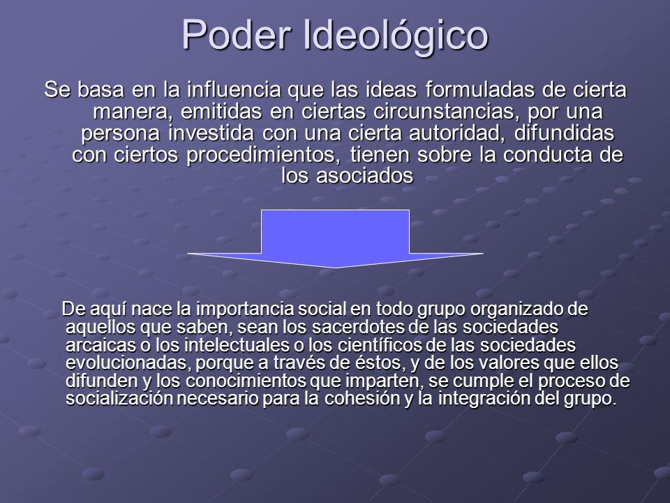 Poder Ideológico Se basa en la influencia que las ideas formuladas de cierta manera, emitidas en ciertas circunstancias, por una persona investida con