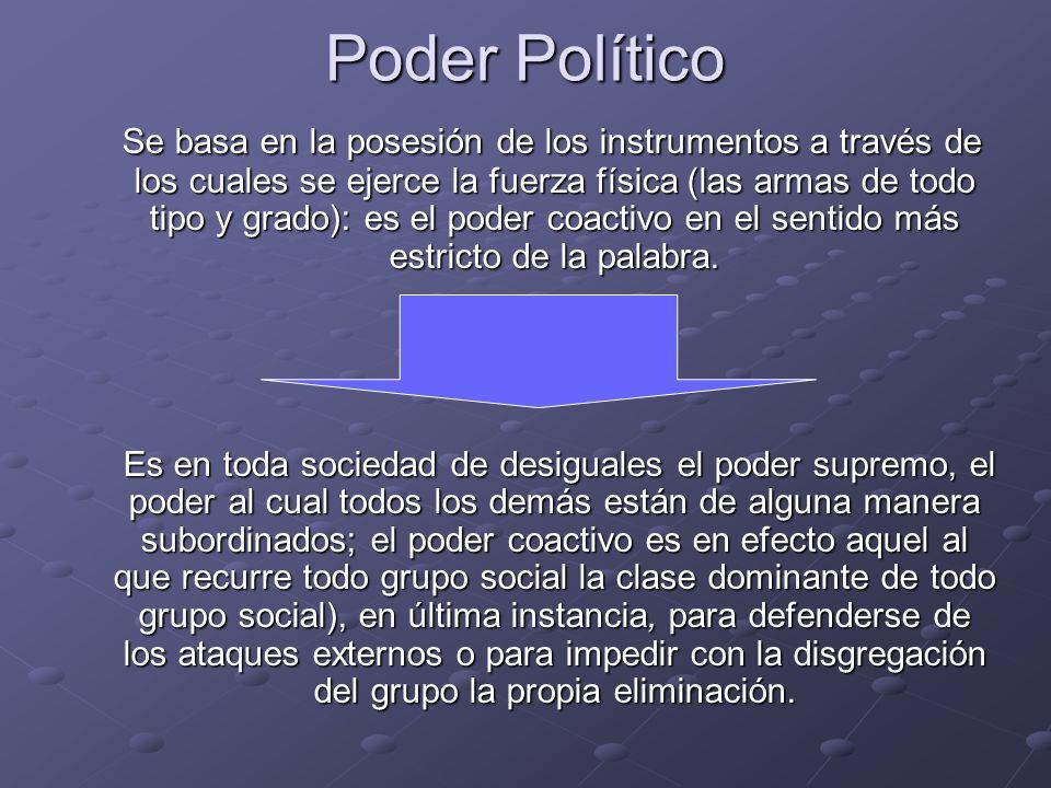 Poder Político Se basa en la posesión de los instrumentos a través de los cuales se ejerce la fuerza física (las armas de todo tipo y grado): es el po
