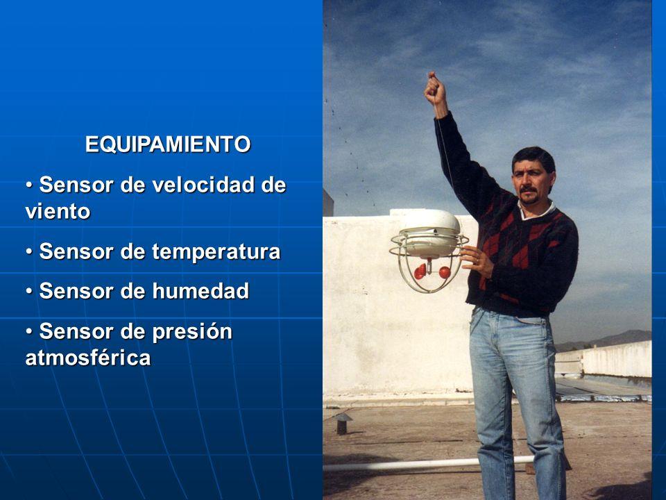 EQUIPAMIENTO Sensor de velocidad de viento Sensor de velocidad de viento Sensor de temperatura Sensor de temperatura Sensor de humedad Sensor de humed