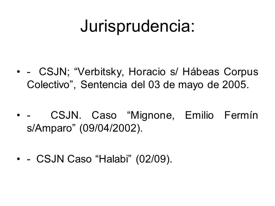 Jurisprudencia: - CSJN; Verbitsky, Horacio s/ Hábeas Corpus Colectivo, Sentencia del 03 de mayo de 2005. - CSJN. Caso Mignone, Emilio Fermín s/Amparo