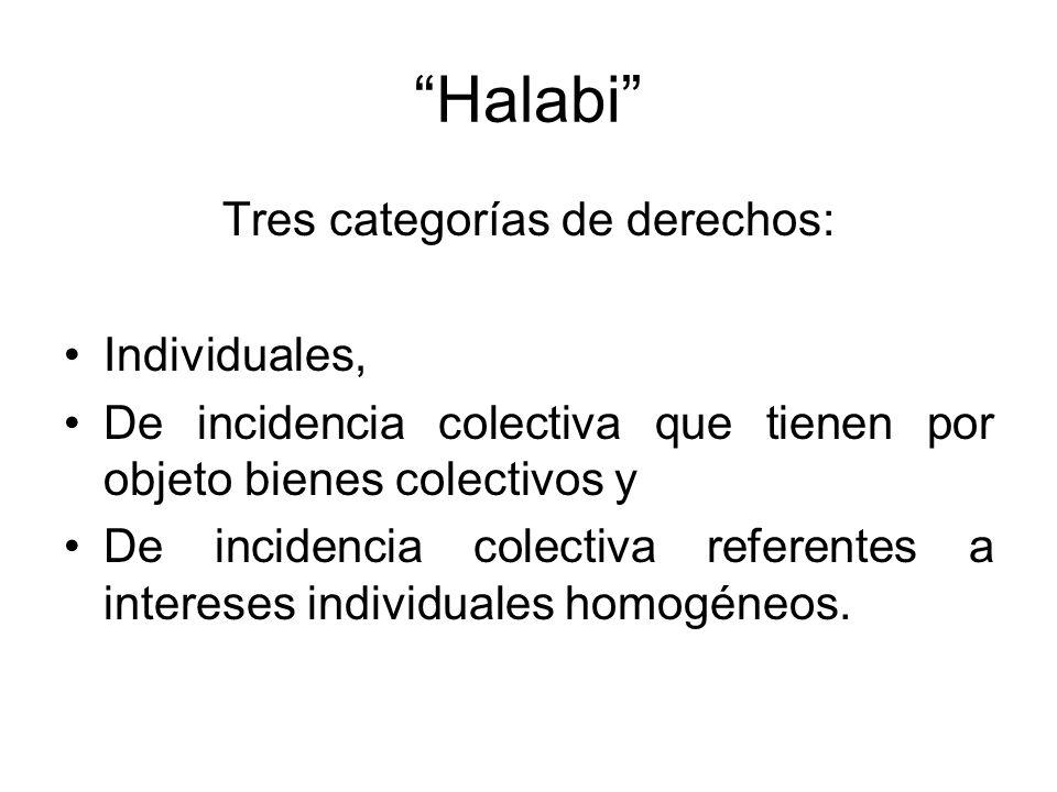 Halabi Tres categorías de derechos: Individuales, De incidencia colectiva que tienen por objeto bienes colectivos y De incidencia colectiva referentes