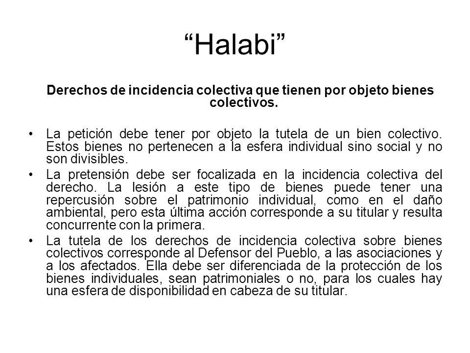 Halabi Derechos de incidencia colectiva que tienen por objeto bienes colectivos. La petición debe tener por objeto la tutela de un bien colectivo. Est