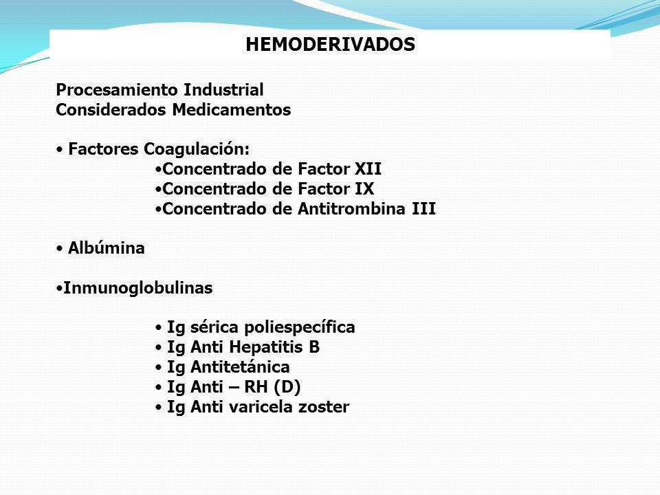 HEMODERIVADOS Procesamiento Industrial Considerados Medicamentos Factores Coagulación: Concentrado de Factor XII Concentrado de Factor IX Concentrado