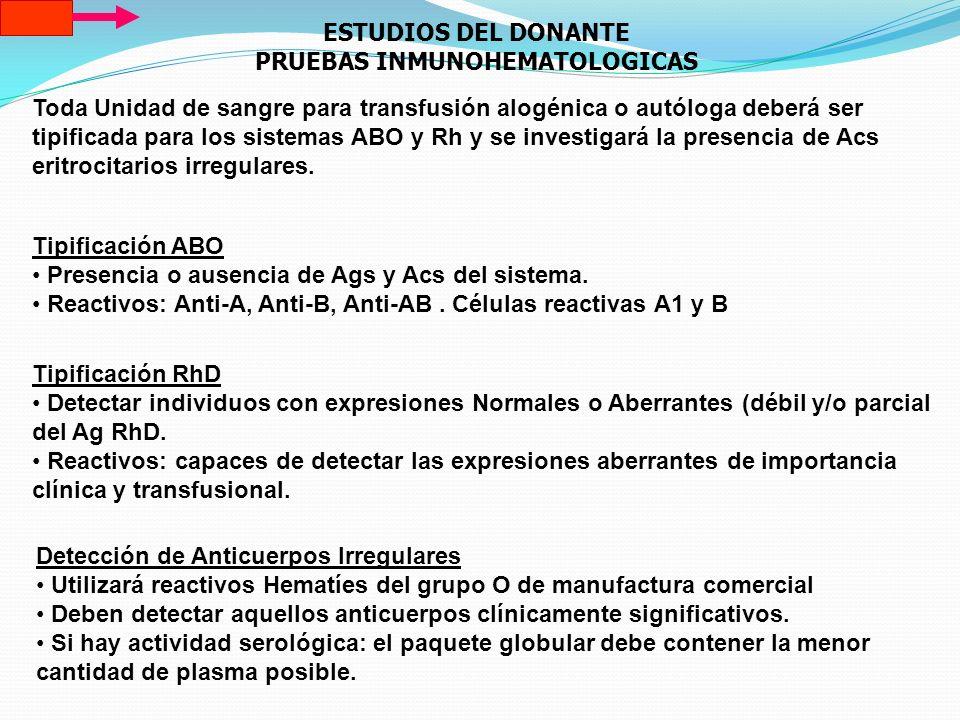 ESTUDIOS DEL DONANTE PRUEBAS INMUNOHEMATOLOGICAS Toda Unidad de sangre para transfusión alogénica o autóloga deberá ser tipificada para los sistemas A