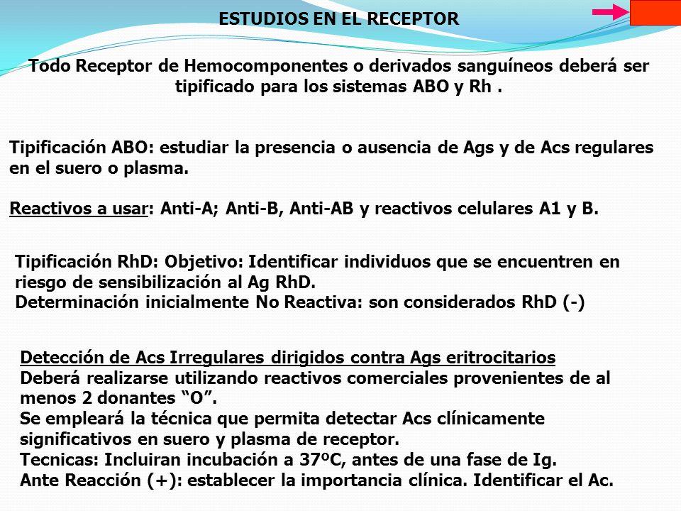 ESTUDIOS EN EL RECEPTOR Todo Receptor de Hemocomponentes o derivados sanguíneos deberá ser tipificado para los sistemas ABO y Rh. Tipificación ABO: es