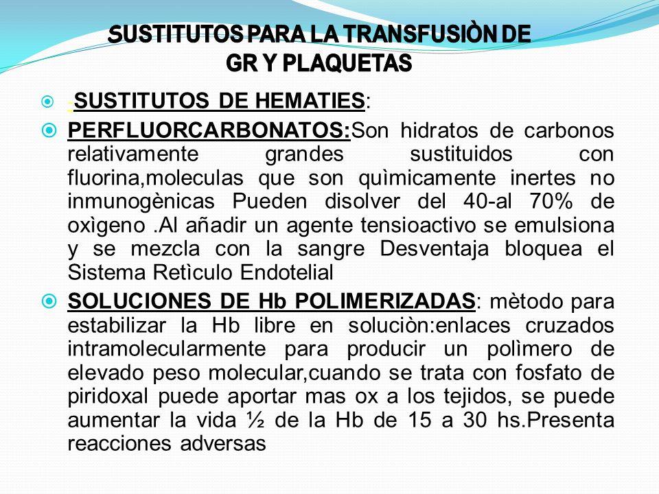 - SUSTITUTOS DE HEMATIES: PERFLUORCARBONATOS:Son hidratos de carbonos relativamente grandes sustituidos con fluorina,moleculas que son quìmicamente in