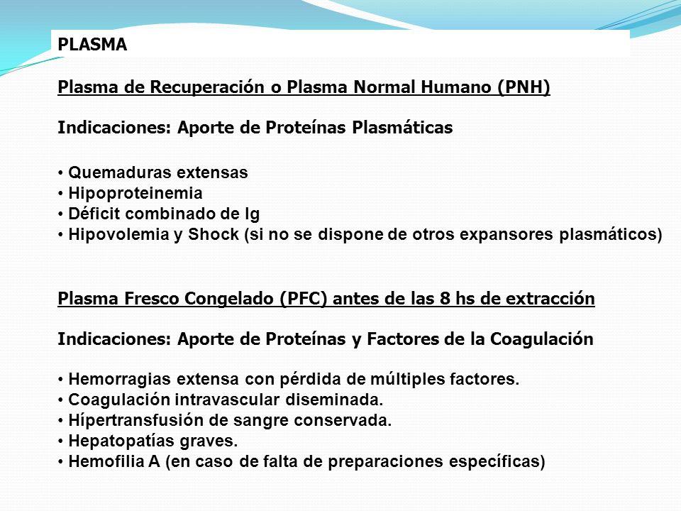 PLASMA Plasma de Recuperación o Plasma Normal Humano (PNH) Indicaciones: Aporte de Proteínas Plasmáticas Quemaduras extensas Hipoproteinemia Déficit c