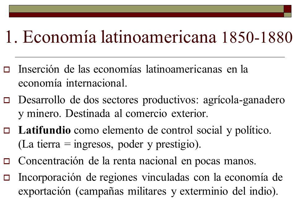 1. Economía latinoamericana 1850-1880 Inserción de las economías latinoamericanas en la economía internacional. Desarrollo de dos sectores productivos