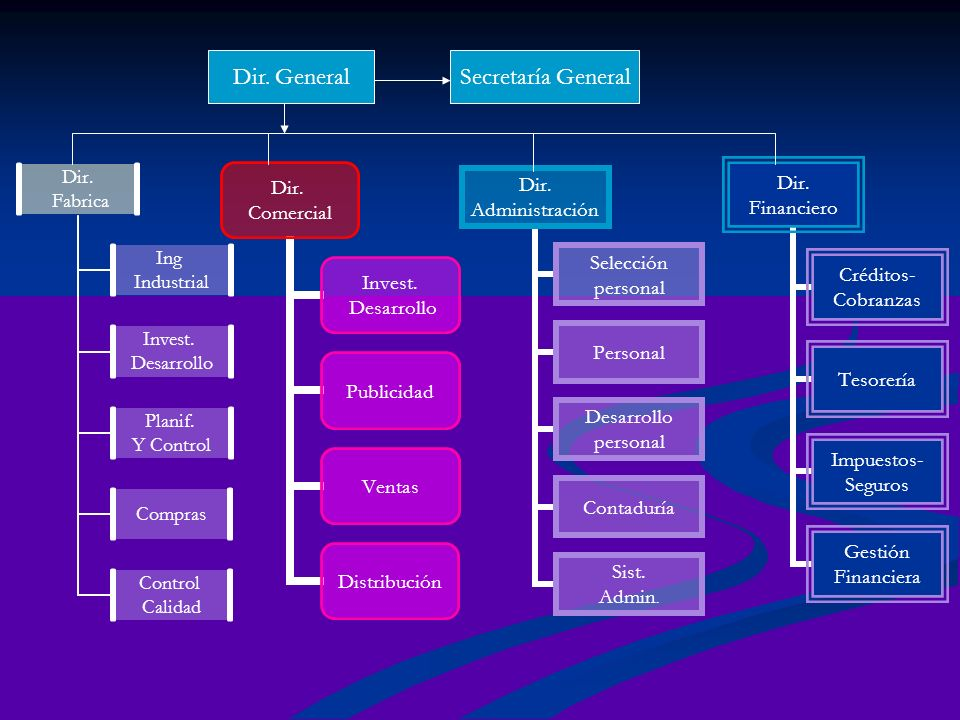 Dir. Fabrica Ing Industrial Invest. Desarrollo Planif. Y Control Compras Control Calidad Dir. Comercial Invest. Desarrollo Publicidad Ventas Distribuc