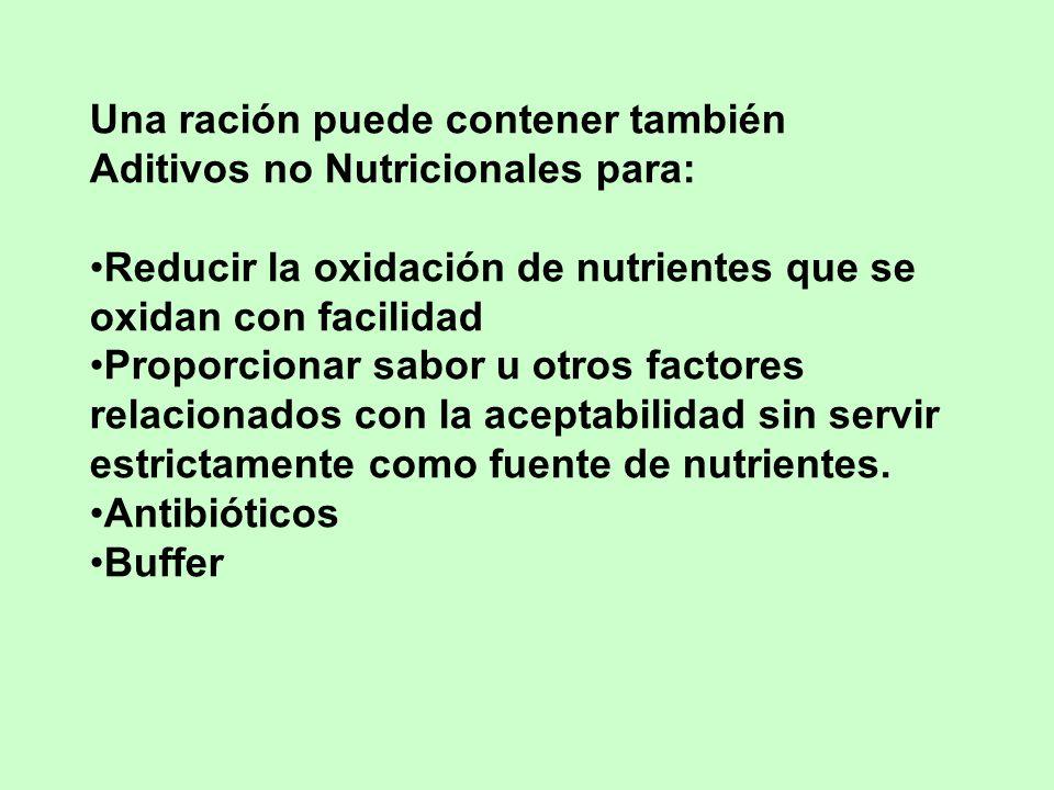 Una ración puede contener también Aditivos no Nutricionales para: Reducir la oxidación de nutrientes que se oxidan con facilidad Proporcionar sabor u