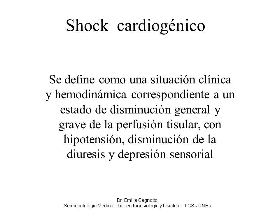Shock cardiogénico Se define como una situación clínica y hemodinámica correspondiente a un estado de disminución general y grave de la perfusión tisu