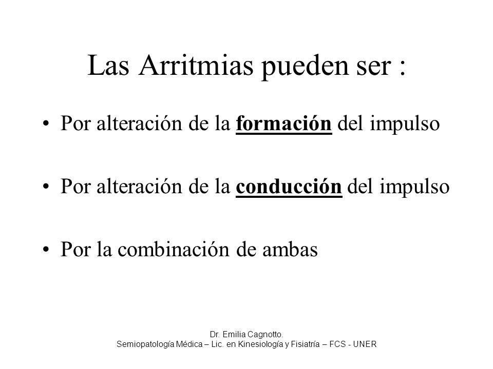 Las Arritmias pueden ser : Por alteración de la formación del impulso Por alteración de la conducción del impulso Por la combinación de ambas Dr. Emil