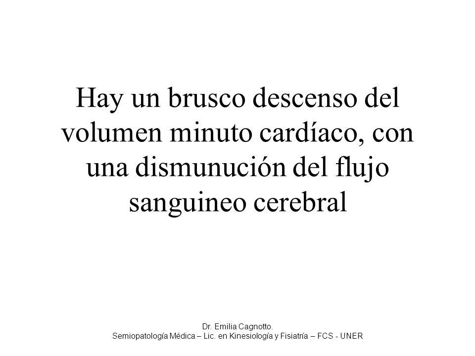 Hay un brusco descenso del volumen minuto cardíaco, con una dismunución del flujo sanguineo cerebral Dr. Emilia Cagnotto. Semiopatología Médica – Lic.