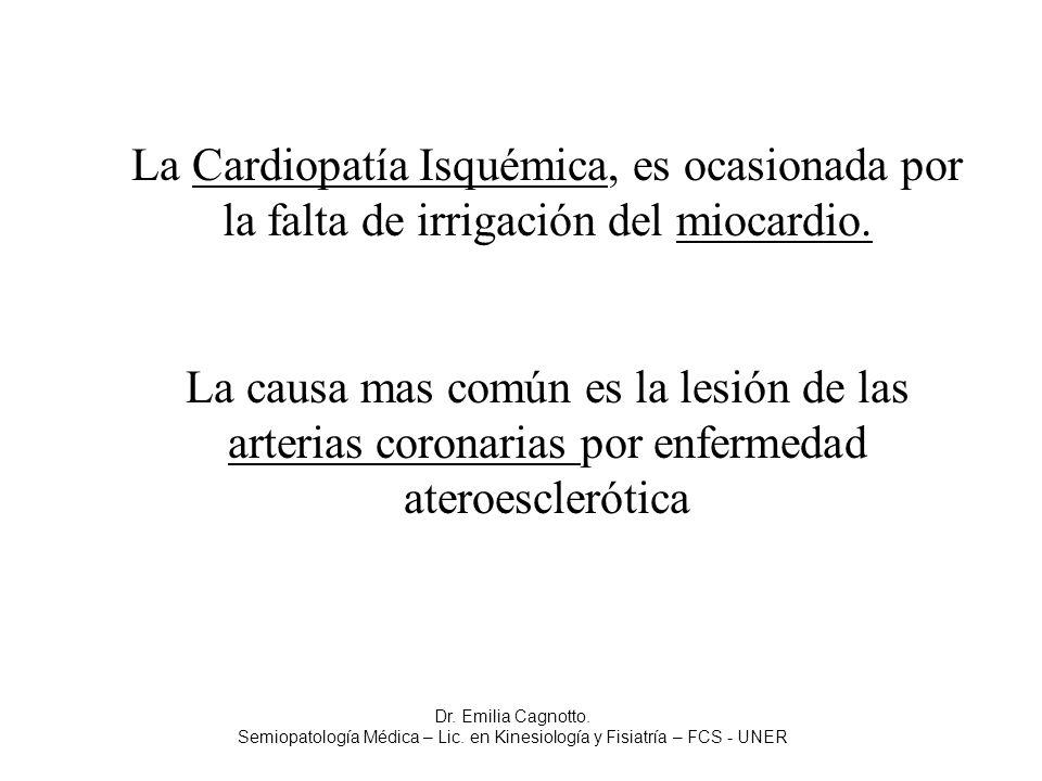 La Cardiopatía Isquémica, es ocasionada por la falta de irrigación del miocardio. La causa mas común es la lesión de las arterias coronarias por enfer
