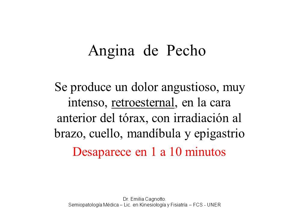 Angina de Pecho Se produce un dolor angustioso, muy intenso, retroesternal, en la cara anterior del tórax, con irradiación al brazo, cuello, mandíbula
