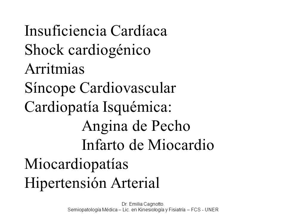 Insuficiencia Cardíaca Shock cardiogénico Arritmias Síncope Cardiovascular Cardiopatía Isquémica: Angina de Pecho Infarto de Miocardio Miocardiopatías