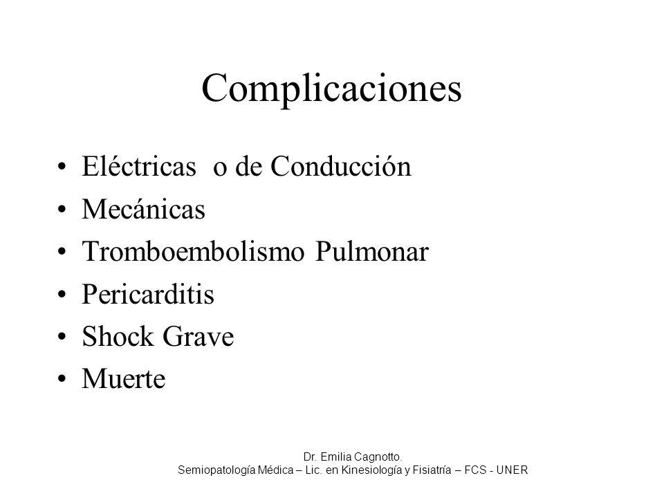 Complicaciones Eléctricas o de Conducción Mecánicas Tromboembolismo Pulmonar Pericarditis Shock Grave Muerte Dr. Emilia Cagnotto. Semiopatología Médic
