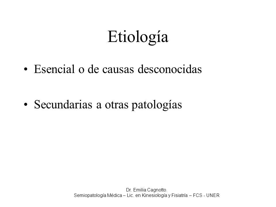 Etiología Esencial o de causas desconocidas Secundarias a otras patologías Dr. Emilia Cagnotto. Semiopatología Médica – Lic. en Kinesiología y Fisiatr