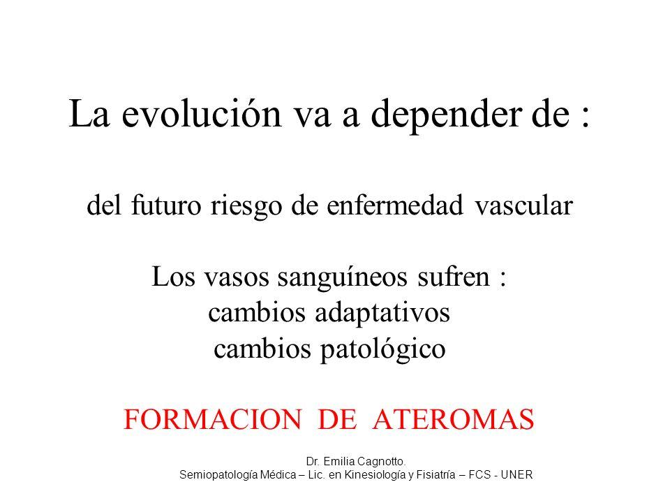 La evolución va a depender de : del futuro riesgo de enfermedad vascular Los vasos sanguíneos sufren : cambios adaptativos cambios patológico FORMACIO