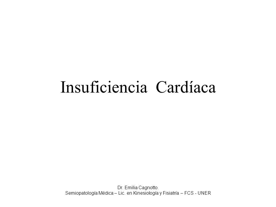 Insuficiencia Cardíaca Dr. Emilia Cagnotto. Semiopatología Médica – Lic. en Kinesiología y Fisiatría – FCS - UNER