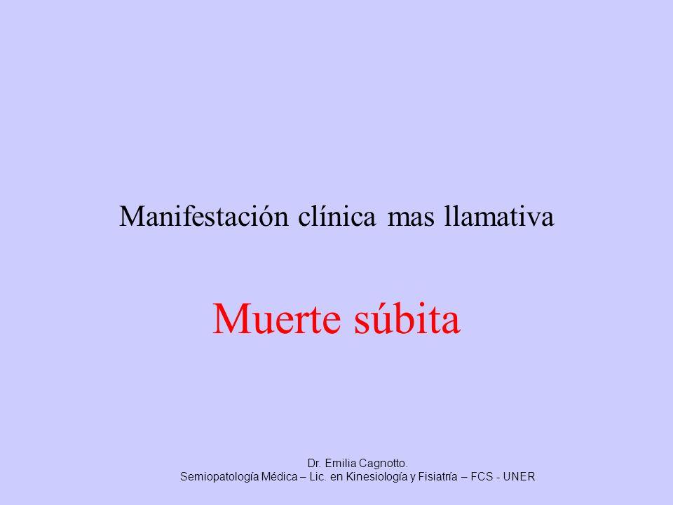 Manifestación clínica mas llamativa Muerte súbita Dr. Emilia Cagnotto. Semiopatología Médica – Lic. en Kinesiología y Fisiatría – FCS - UNER