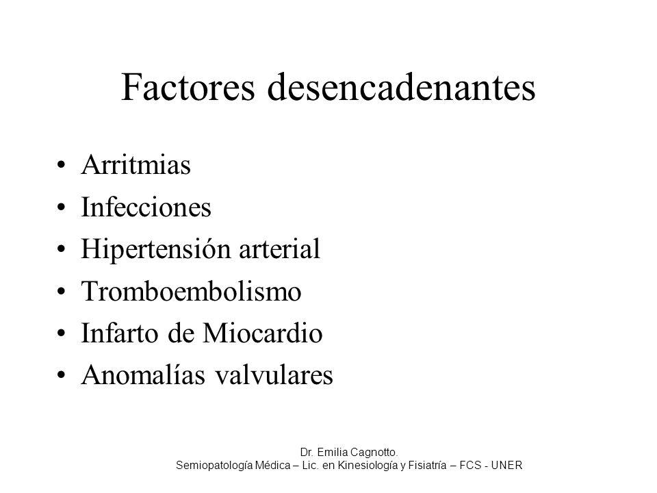 Factores desencadenantes Arritmias Infecciones Hipertensión arterial Tromboembolismo Infarto de Miocardio Anomalías valvulares Dr. Emilia Cagnotto. Se