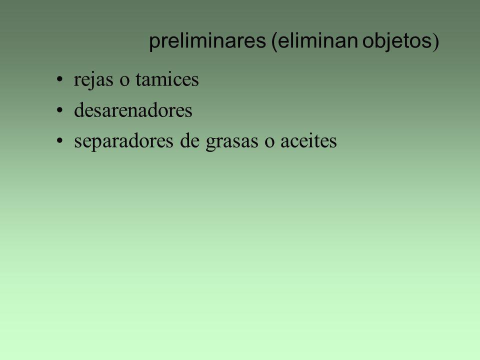 preliminares (eliminan objetos ) rejas o tamices desarenadores separadores de grasas o aceites