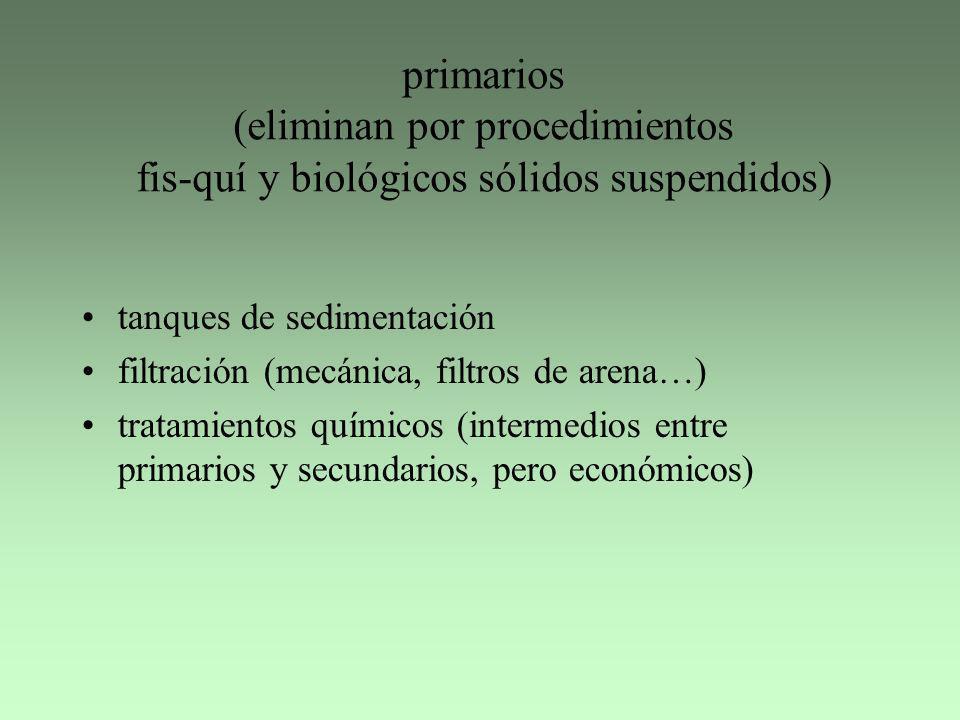 primarios (eliminan por procedimientos fis-quí y biológicos sólidos suspendidos) tanques de sedimentación filtración (mecánica, filtros de arena…) tra
