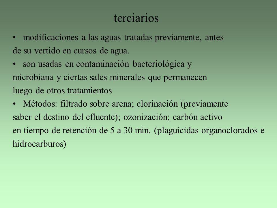 terciarios modificaciones a las aguas tratadas previamente, antes de su vertido en cursos de agua. son usadas en contaminación bacteriológica y microb