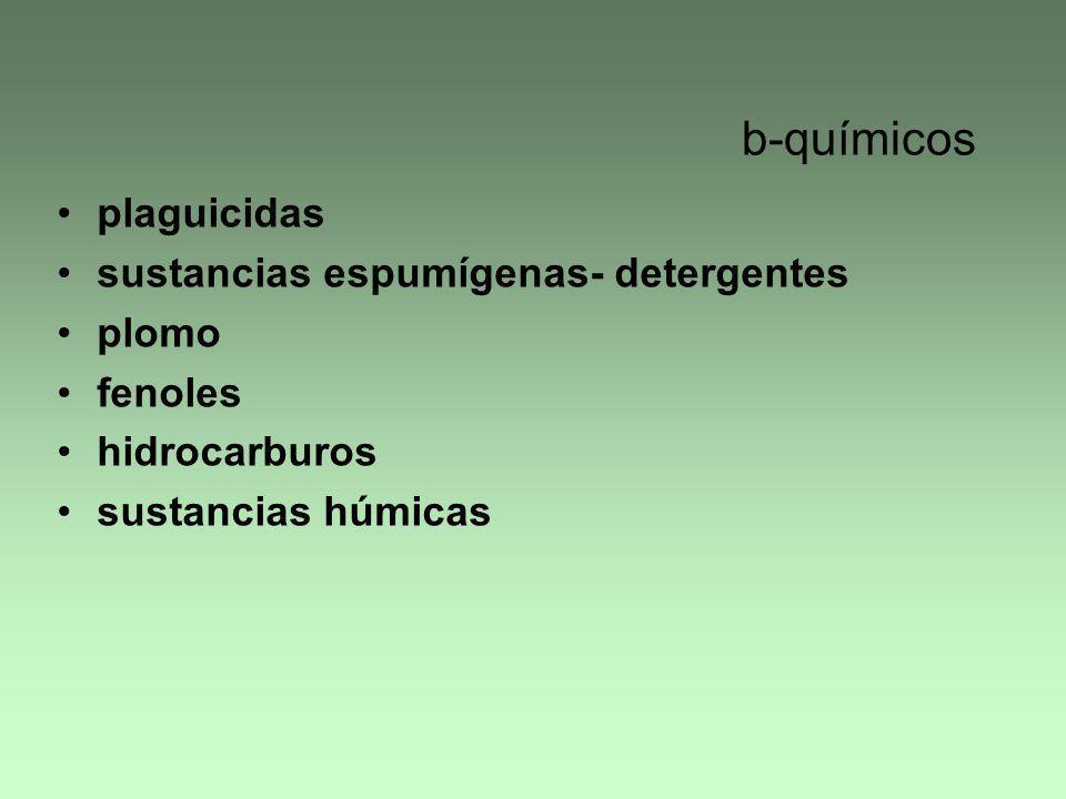 b-químicos plaguicidas sustancias espumígenas- detergentes plomo fenoles hidrocarburos sustancias húmicas