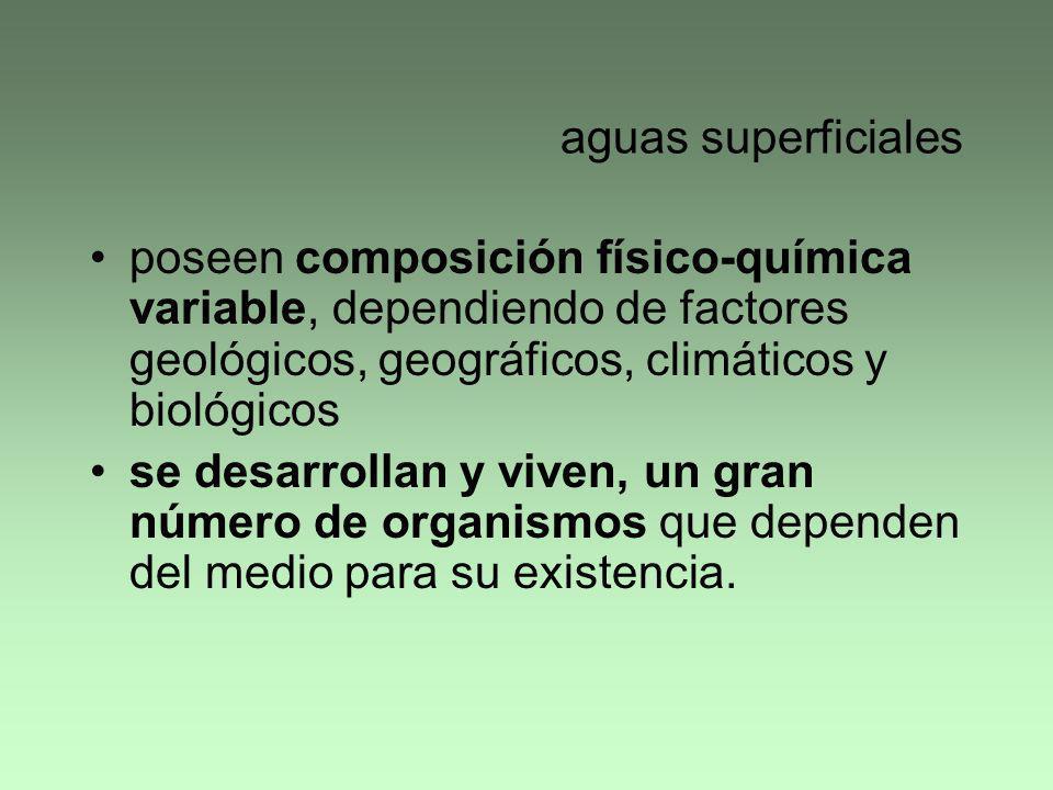 aguas superficiales poseen composición físico-química variable, dependiendo de factores geológicos, geográficos, climáticos y biológicos se desarrolla