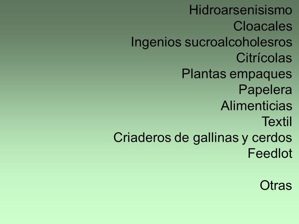 Hidroarsenisismo Cloacales Ingenios sucroalcoholesros Citrícolas Plantas empaques Papelera Alimenticias Textil Criaderos de gallinas y cerdos Feedlot