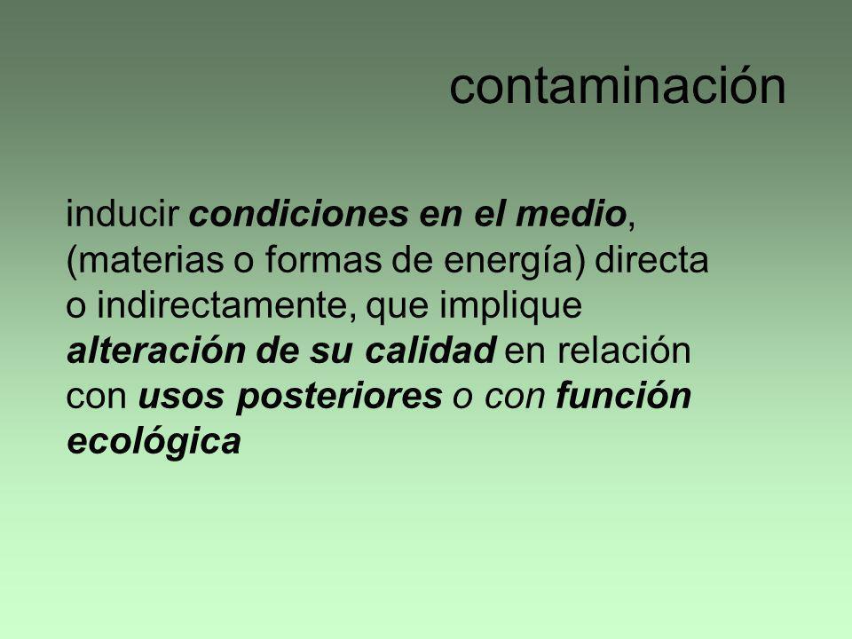 contaminación inducir condiciones en el medio, (materias o formas de energía) directa o indirectamente, que implique alteración de su calidad en relac