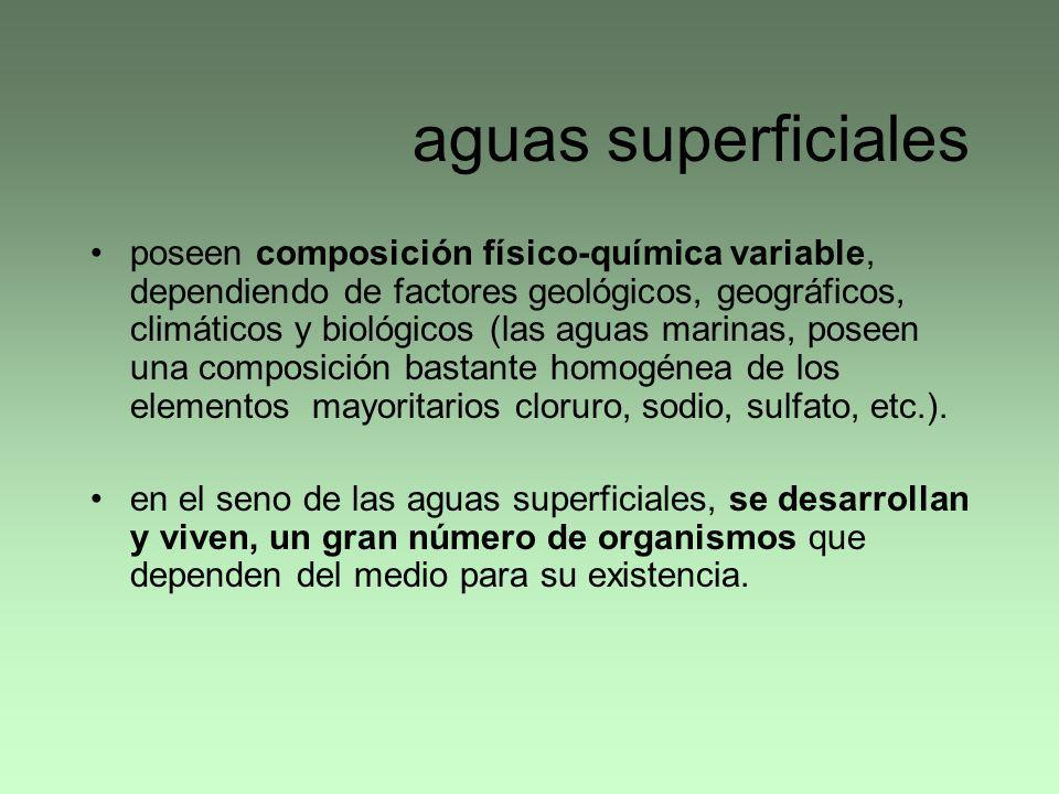 aguas superficiales poseen composición físico-química variable, dependiendo de factores geológicos, geográficos, climáticos y biológicos (las aguas ma