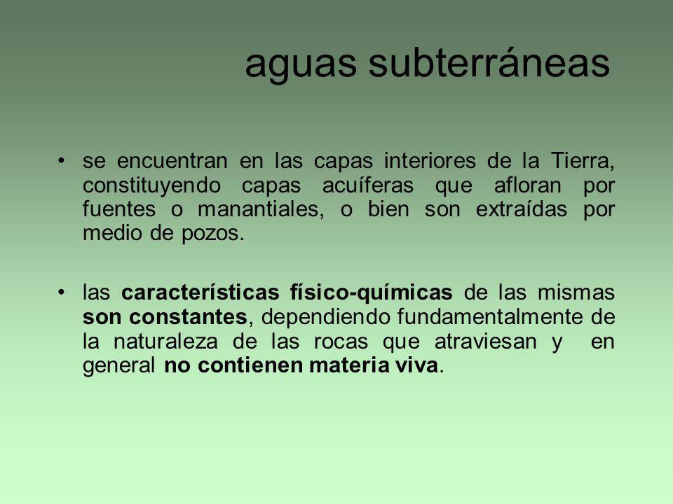 aguas subterráneas se encuentran en las capas interiores de la Tierra, constituyendo capas acuíferas que afloran por fuentes o manantiales, o bien son