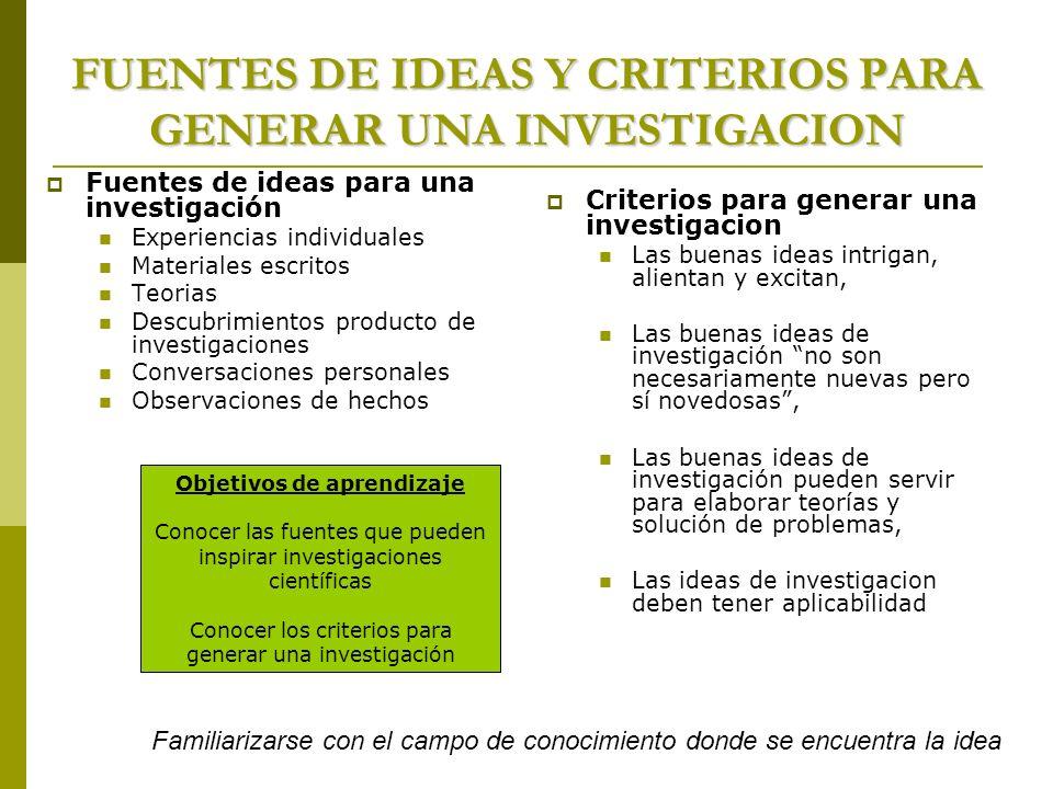 FUENTES DE IDEAS Y CRITERIOS PARA GENERAR UNA INVESTIGACION Fuentes de ideas para una investigación Experiencias individuales Materiales escritos Teor