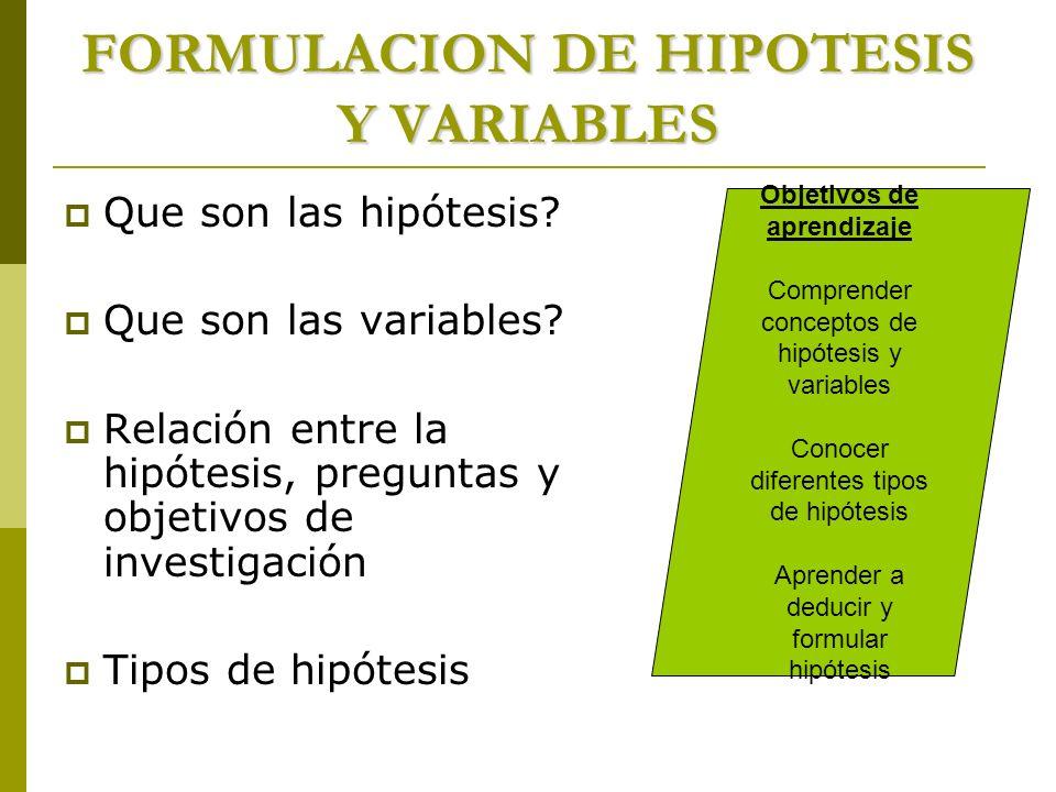FORMULACION DE HIPOTESIS Y VARIABLES Que son las hipótesis? Que son las variables? Relación entre la hipótesis, preguntas y objetivos de investigación