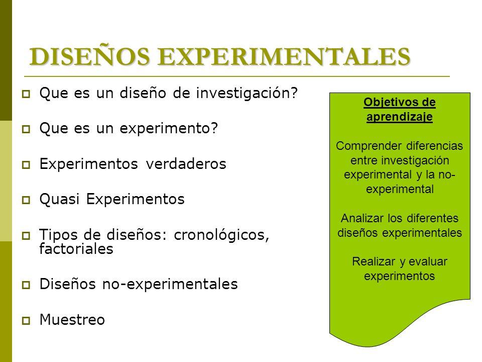 DISEÑOS EXPERIMENTALES Que es un diseño de investigación? Que es un experimento? Experimentos verdaderos Quasi Experimentos Tipos de diseños: cronológ